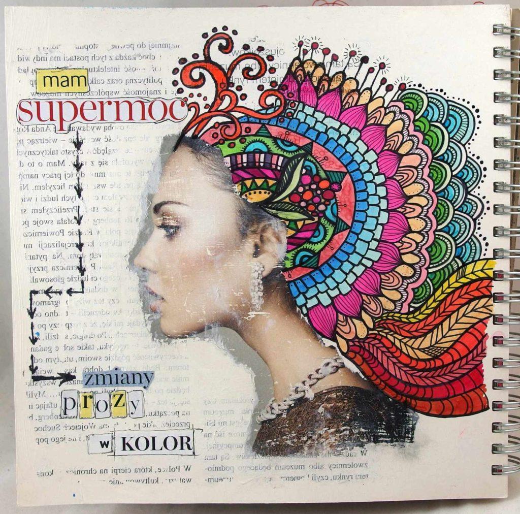 Art journal rysunkowo-kolażowy.
